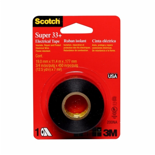 Scotch® Super 33+ Vinyl Electrical Tape - 0.75 x 450 Inch - Black Perspective: front