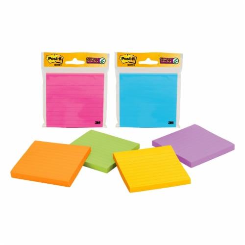 Post-it Lined Super Sticky Notes - 90 Sheets - Assorted Perspective: front