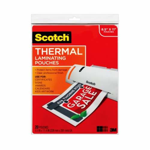 Scotch® Thermal Laminating Pouches - 8.5 x 11 Inch - 20 Pack - Clear Perspective: front