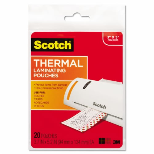 Scotch Laminating Pouches, 5 Mil, 5.38  X 3.75 , Gloss Clear, 20/Pack TP590220 Perspective: front
