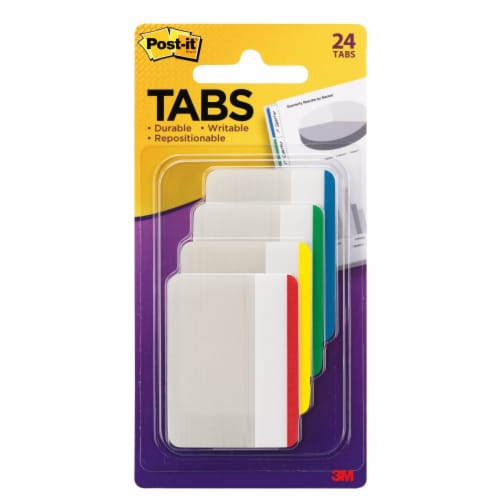 Post-it® Durable Tabs - 24 Pack - Assorted Brights Perspective: front