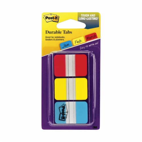 3M Post-it Durable Tabs, Red/Yellow/Blue, 1 X 1.5 in - 66 Tabs Perspective: front