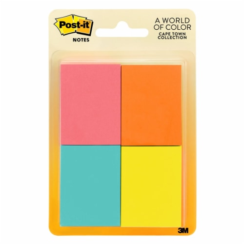 Post-it® Cape Town Collection Notes - Assorted Colors - 4 Pack Perspective: front