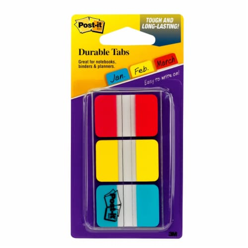Post-it® Durable Tabs - 3 Pack - Red/Yellow/Blue Perspective: front
