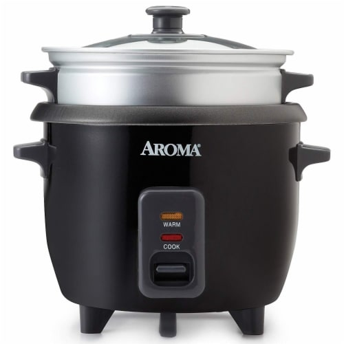 Aroma Pot-Style Rice Cooker and Food Steamer - Black/Silver Perspective: front