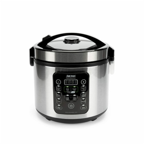 Aroma Professional Stainless Steel 12-Cup Smart Carb Rice Cooker with 8 Presets Perspective: front