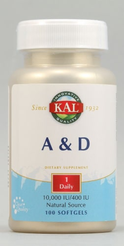 KAL Vitamin A and D Dietary Supplement Softgels Perspective: front