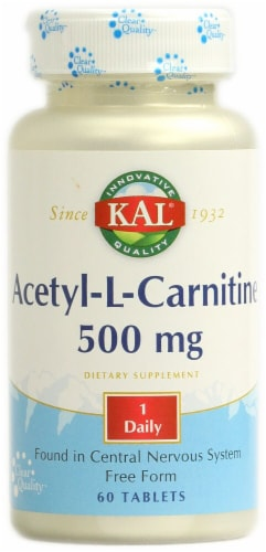KAL Acetyl-L-Carnitine Tablets 500mg Perspective: front