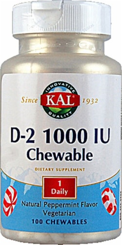 KAL D-2 Peppermint Chewables 1000IU Perspective: front
