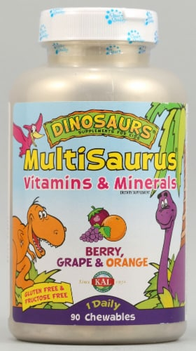 KAL Dinosaurs MultiSaurus® Berry Grape and Orange Chewables 90 Count Perspective: front