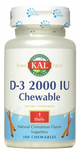 KAL D-3 Sugarless Cinnamon Chewables 2000IU Perspective: front