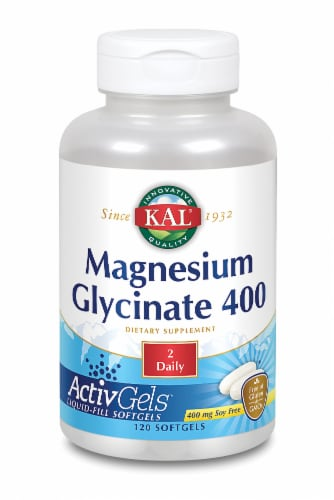 Kal Soy Free Magnesium Glycinate Softgels 400mg 120 Count Perspective: front