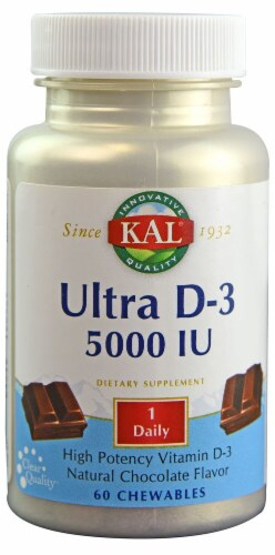 KAL  Ultra D-3   Natural Chocolate Chewables 5000 iu Perspective: front