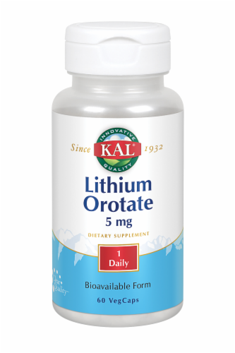KAL Lithium Orotate 5 mg Veg Caps Perspective: front