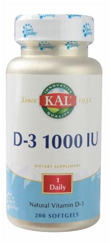 Kal Vitamin D-3 Dietary Supplement Softgels 1000IU Perspective: front