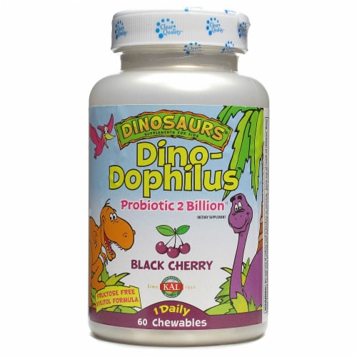 KAL Dinosaurs DinoDophilus Black Cherry Chewables 60 Count Perspective: front