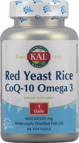 KAL Red Yeast Rice CoQ-10 Omega 3 Softgels Perspective: front
