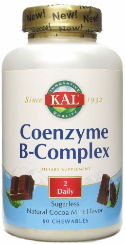KAL Coenzyme B-Complex Cocoa Mint Chewables Perspective: front