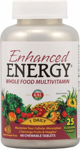 KAL Enhanced Energy® Mango Pineapple Whole Food Multivitamin Tablets Perspective: front