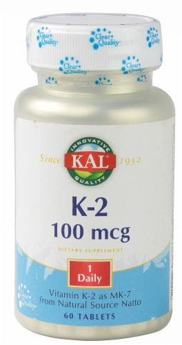 KAL Vitamin K-2 Tablets 100mcg Perspective: front