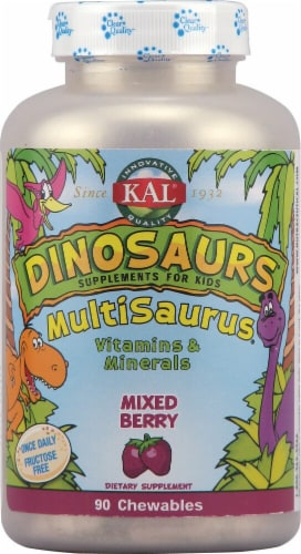 KAL Dinosaurs MultiSaurus Mixed Berry Chewables 90 Count Perspective: front