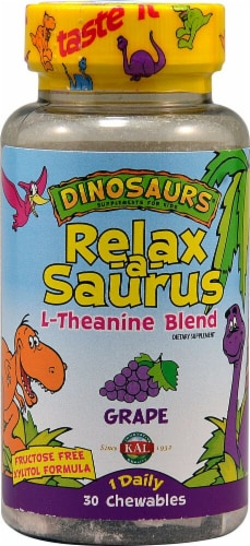 KAL Dinosaurs Relax-a-Saurus L-Theanine Blend Grape Chewables 30 Count Perspective: front