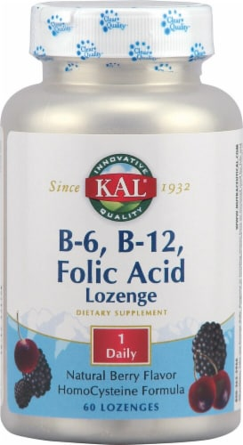 KAL  B-6 B-12 Folic Acid   Berry Lozenges Perspective: front