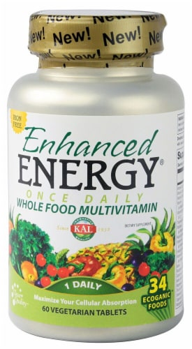 KAL  Enhanced Energy Once Daily Whole Food Vitamin Iron Free Perspective: front