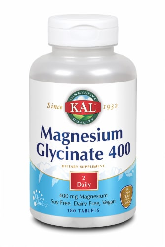 KAL Magnesium Glycinate 400 Mg Tablets Perspective: front