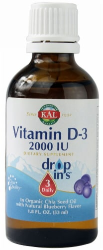 Kal  Vitamin D3 Dropins™   Natural Blueberry Perspective: front
