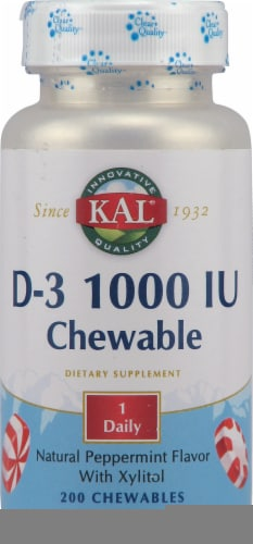 Kal  Vitamin D-3   Peppermint Chewables 1000 iu Perspective: front