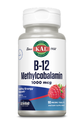 KAL  B-12 Methylcobalamin   Red Raspberry Tablets 1000 mcg Perspective: front