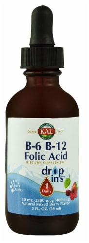KAL  B-6 B-12 Folic Acid Dropins™   Natural Mixed Berry Perspective: front