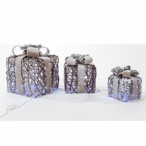 Good Tidings LED Gift Boxes - 3 ct Perspective: front