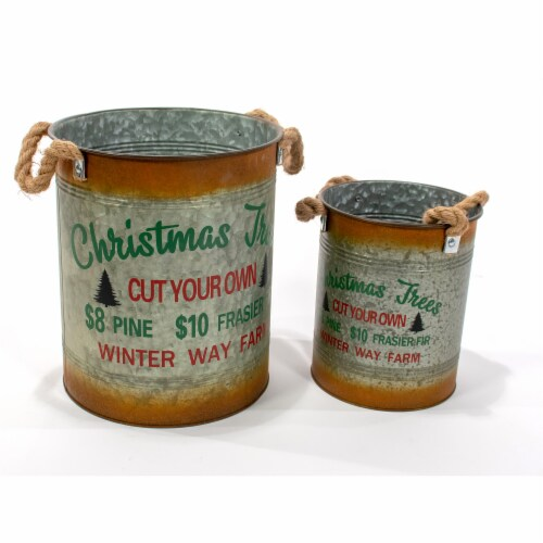 Good Tidings Rustic Metal Buckets Perspective: front