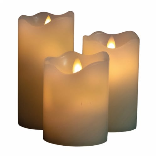 Good Tidings LED Pillar Candles - Cream Perspective: front