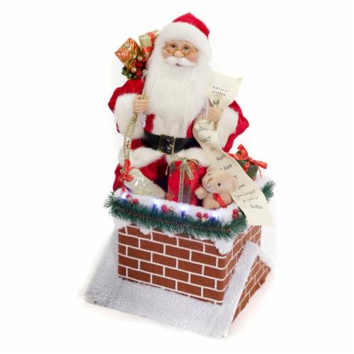 Good Tidings LED Lit Santa on Chimney Decor Perspective: front