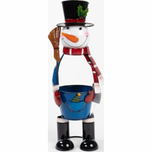 Good Tidings Metal Snowman with Pail Belly Perspective: front