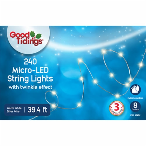 Good Tidings Micro LED String Lights - 240 Pack - White Perspective: front