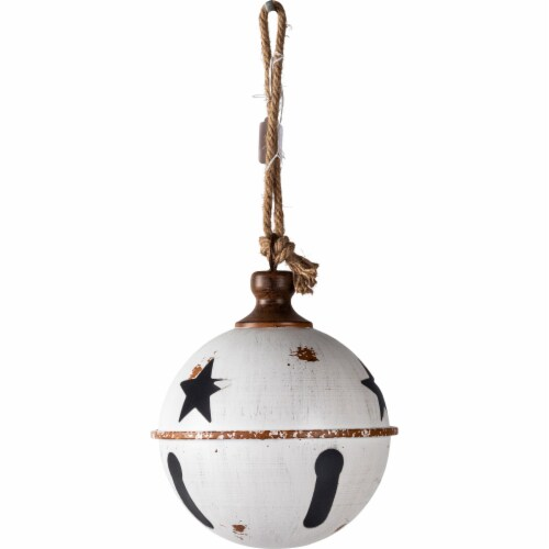 Good Tidings Hanging Metal Ball Decor - White Perspective: front