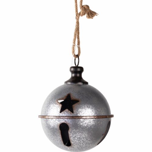 Good Tidings Hanging Metal Ball Decor - Silver Perspective: front