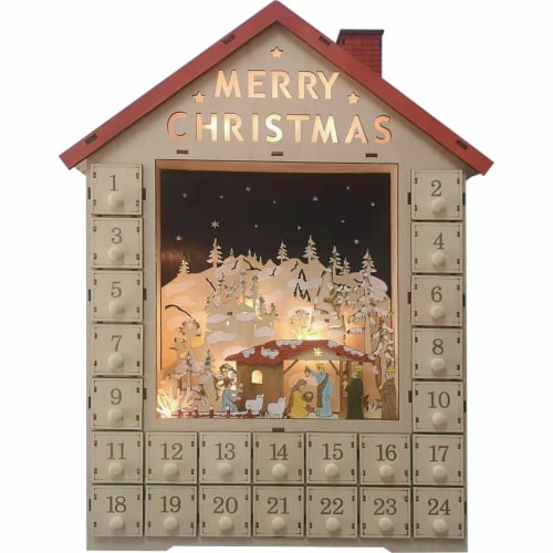 Good Tidings Battery Operated LED Wooden Advent Calendar Decor Perspective: front