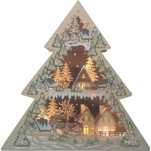 Good Tidings LED Lit Battery Operated Wooden Tree Decor Perspective: front