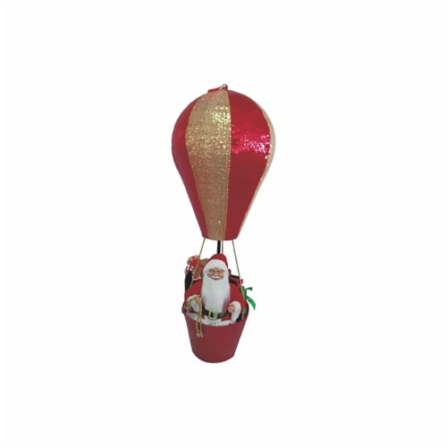 Good Tidings Santa in Hot Air Balloon Statue Perspective: front