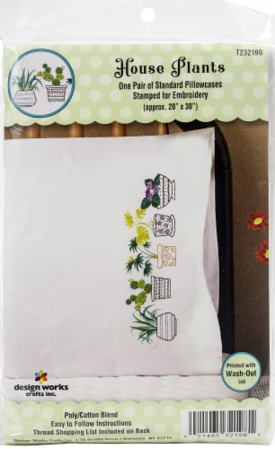Tobin Stamped For Embroidery Pillowcase Pair 20 X30 -House Plants Perspective: front