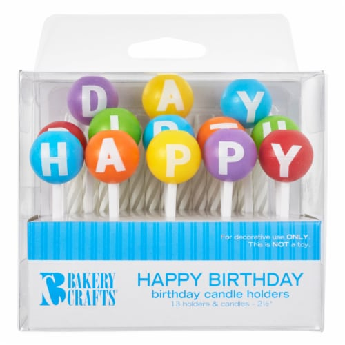 Bakery Crafts Happy Birthday Candle Holders White Candles