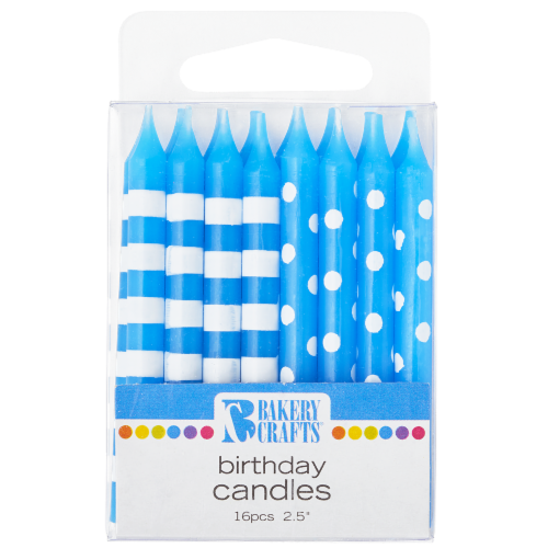 Bakery Crafts Blue with Stripes & Polka Dots Birthday Candles Perspective: front