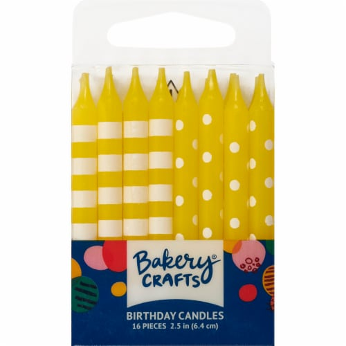 Bakery Crafts Yellow with Stripes & Polka Dots Birthday Candles Perspective: front