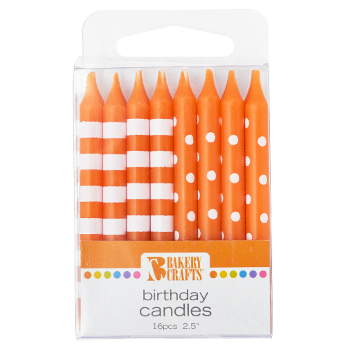 Bakery Crafts Orange with Stripes & Polka Dots Birthday Candles Perspective: front