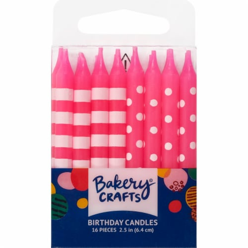 Bakery Crafts Pink with Stripes & Polka Dots Birthday Candles Perspective: front